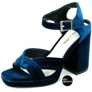 Seven dials Poliana velvet blue block heels size 8